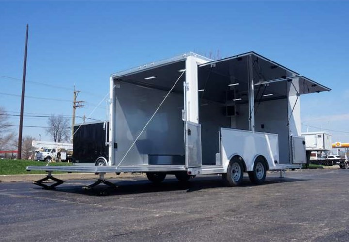 18-foot Mobile Pop-Up Trailer with Rear Stage
