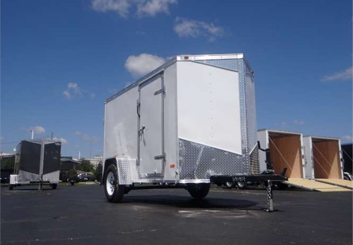 5' x 10' White Cargo Trailer with Rear Double Swing Doors ...