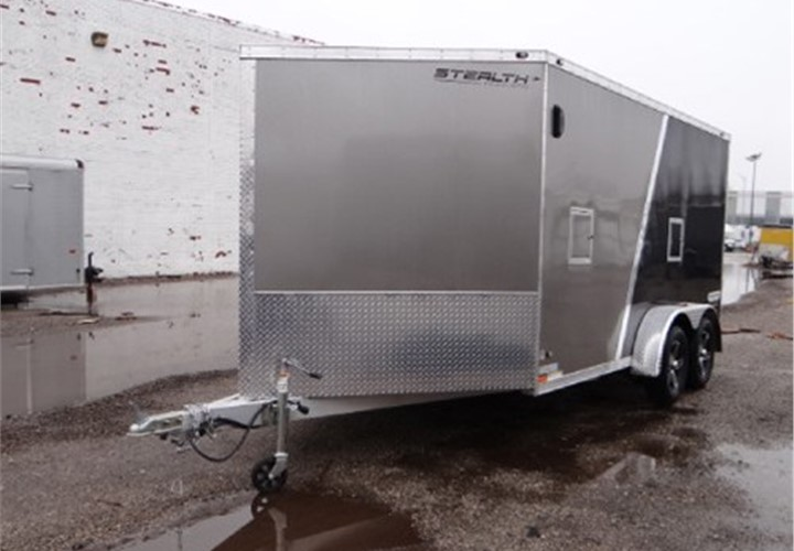 Enclosed 7 X 19 Stealth Trailers Snowmobile Trailer With