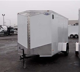 6' x 12' White Cargo Trailer with Light Duty Ramp