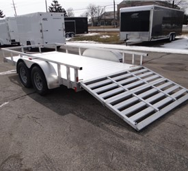 Open Aluminum 7' x 14' Utility Trailer by ATC with a Bi-Fold Ramp