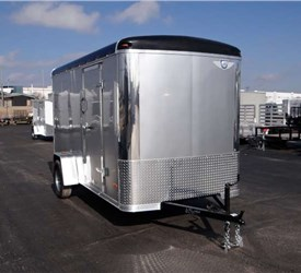 6' x 12' Silver Cargo Trailer with a Light Duty Rear Ramp Door