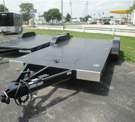 18' Open Car Trailer Full Steel Deck Slide Out Ramps