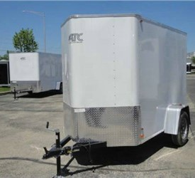 Enclosed Polar White 5' x 10' ATC – Aluminum Trailer Company Cargo Trailer with 2' Nose Wedge