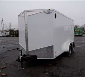 7' x 14' White Cargo Trailer with Rear Ramp Door
