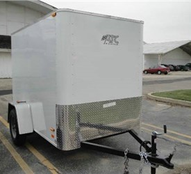 Enclosed White 5' x 8' Motiv Cargo Trailer