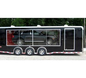 Clear Side Mobile Display And Marketing Trailer Black With Red Interior