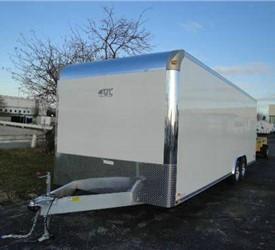 Enclosed White 8.5' x 24' Aluminum Raven Car Hauling Trailer