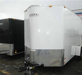 Enclosed White 6' x 12' Motiv Cargo Trailer with 2' Nose Wedge