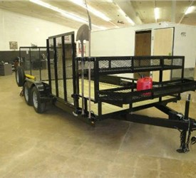 Open Black 8.5' x 16' J.B. Enterprise Utility Trailer