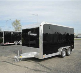 Enclosed Black 7.5' x 14' Aluminum Trailer Company Motorcycle Trailer