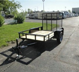 Open Black 5' x 8' JB Enterprises Utility Trailer