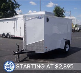 5' x 10' White Cargo Trailer with Rear Double Swing Doors