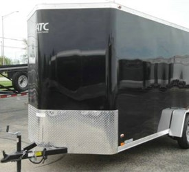 Enclosed Black 6' x 14' ATC – Aluminum Trailer Company Cargo Trailer with 2' Nose Wedge