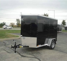 Enclosed Black 5' x 10' ATC – Aluminum Trailer Company Cargo Trailer with 2' Nose Wedge