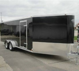 Enclosed Black 7' x 24' ATC – Aluminum Trailer Company Snowmobile Trailer with 6' Nose Wedge