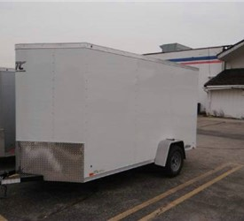 Enclosed Polar White 6' x 14' ATC – Aluminum Trailer Company Cargo Trailer with 2' Nose Wedge