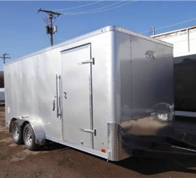 Enclosed Polar White 7' x 16' ATC – Aluminum Trailer Company Landscape Trailer