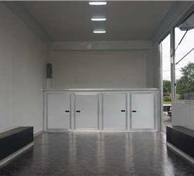 8.5' x 16' White Mobile Concession Trailer with Rear Ramp Door