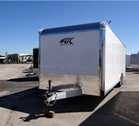 Custom Polar White 24' Car Hauler with Rear Ramp Door