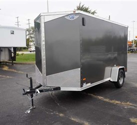 USED 6' x 12' Charcoal Cargo Trailer with Light Duty Ramp