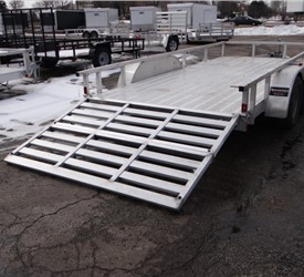Open Aluminum 7' x 16' Utility Trailer by ATC with a Bi-Fold Ramp
