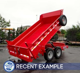 Red 82 in x 12 ft Low Profile 14K Dual Ram Dump Trailer