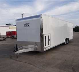 Enclosed Polar White 8.5' x 28' Car Hauler Trailer by ATC – Aluminum Trailer Company