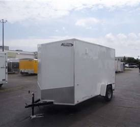 White Enclosed 6' x 12' Cargo Trailer with Ramp Door