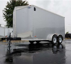7' x 14' Silver Cargo Trailer with Rear Ramp Door