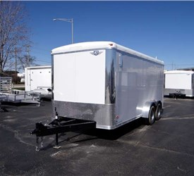 7' x 16' White Cargo Trailer with Rear Ramp Door