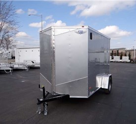6' x 10' Silver Cargo Trailer with Light Duty Rear Ramp Door