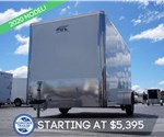 Polar White 7' x 12' Enclosed Cargo Trailer with Rear Ramp Door