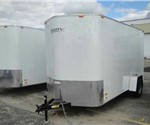 "Enclosed White 6' x 14' Motiv Cargo Trailer with Wedge Nose and 3/8"" Plywood Interior Walls"