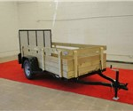 Open Black 5' x 10' J.B. Enterprise Utility Trailer with Wooden Sides