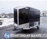 6' x 12' Steel Black Cargo Trailer with Rear Ramp Door