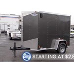 5' x 8' Charcoal Gray Cargo Trailer With Rear Ramp Door