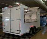 Enclosed Polar White 7.5' x 16' ATC – Aluminum Trailer Company Concession Trailer