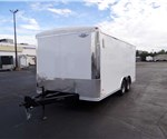 8.5' x 16' White Landscape Trailer with Rear Ramp Door