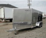 Enclosed Pewter & Black 7' x 19' Stealth Predator Aluminum Snow Trailer with 5' Nose Wedge