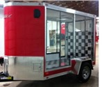 Custom Enclosed Victory Red 5' x 10' Motiv Motorcycle Trailer with 2' Nose Wedge