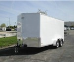 Enclosed Polar White 7' x 16' Aluminum Trailer Company Cargo Trailer