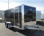 Enclosed Black 7' x 14' Aluminum Trailer Company Motorcycle Trailer
