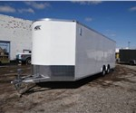 Enclosed Polar White 8.5' x 26' ATC – Aluminum Trailer Company Car Hauler Trailer with 2' Nose Wedge