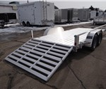 Open Aluminum 7' x 16' Utility Trailer by ATC with a Bi-Fold Ramp and Removable Sides