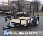 5' x 8' Black Sure-Trac Tube Top Utility Trailer with Fold Flat Gate