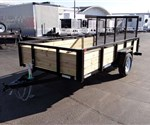 6' x 12' Black Tube Top Utility Trailer with Three Board Sides