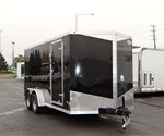 7' x 16' Black Cargo Trailer with Rear Ramp Door