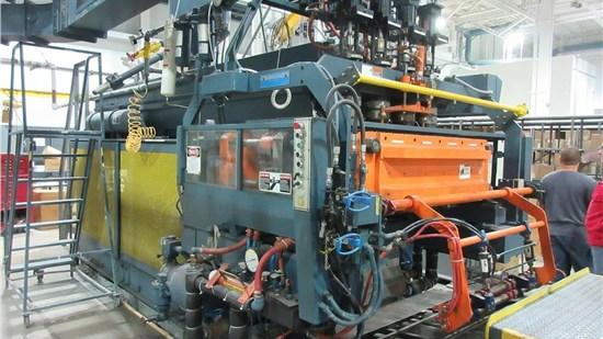 Uniloy Model 350 R2, 4 Head Reciprocating Screw Blow Molding Machine