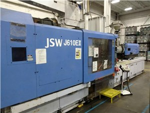 606 Ton JSW Injection Molding Machine, Model J610EII, 72.6 Oz, Made New In 1996